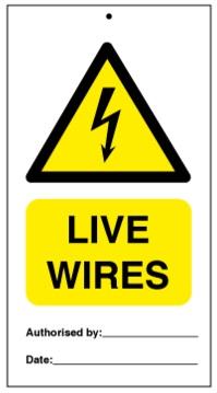 75DF125006KE Tie Tag Live Wires Denfoil