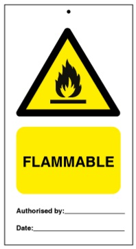 75DF125009KE Tie Tag Flammable Denfoil