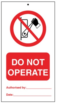75DF125052KE Tie Tag Do Not Operate Denfoil
