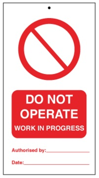 75DF125053KE Tie Tag Do Not Operate work in progress Denfoil