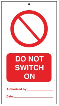 75DF125057KE Tie Tag Do Not Switch On Denfoil