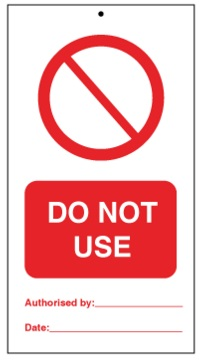 75DF125059KE Tie Tag Do Not Use Denfoil