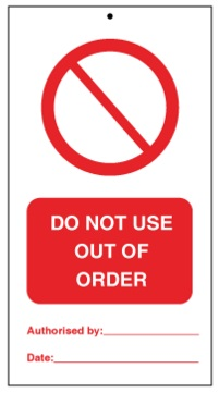 75DF125061KE Tie Tag Do Not Use Out of order Denfoil