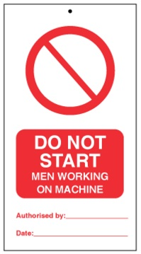 75DF125067KE Tie Tag Do Not Start men working in machine Denfoil
