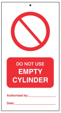 75DF125068KE Tie Tag Do Not Use empty cylinder Denfoil