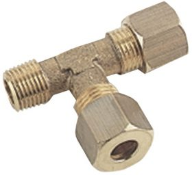 Compression fitting TEE 2xtube + male side Brass